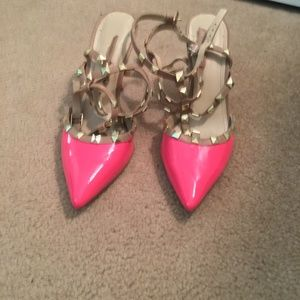 BCBGeneration Shoes - BCBGeneration Darron Two-Tone Pink Patent Rockstud